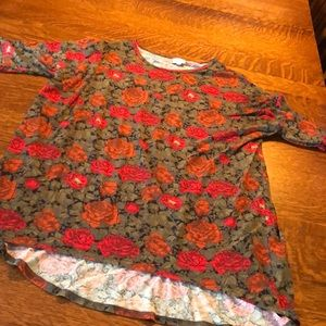 Lularoe Floral Irma - Green, Red and Orange - XL